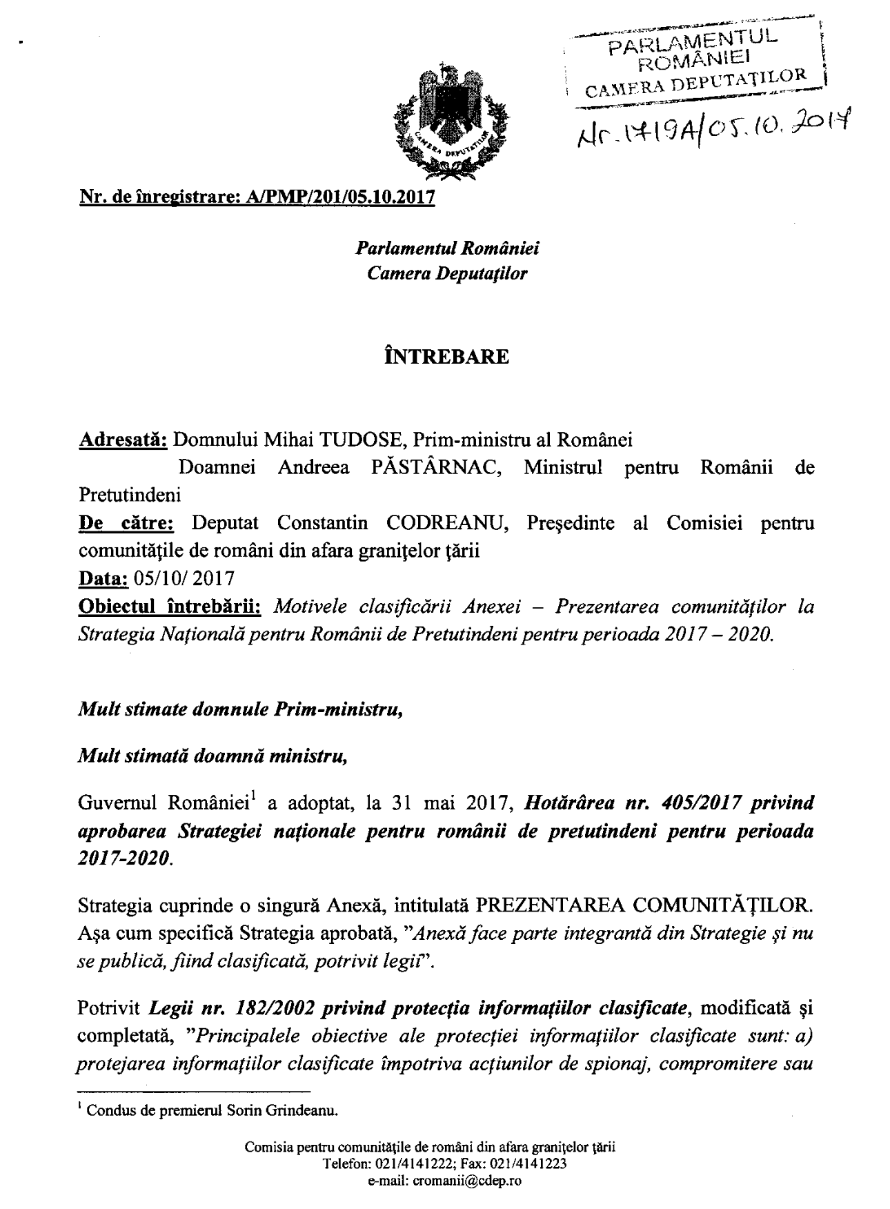 Interpelare Constantin Codreanu