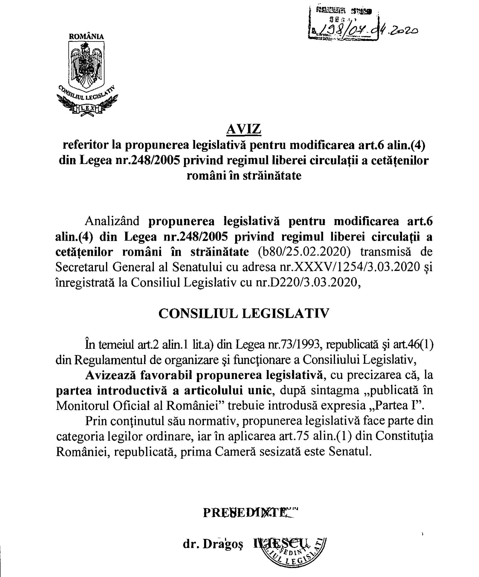 Aviz Consiliul Legislativ