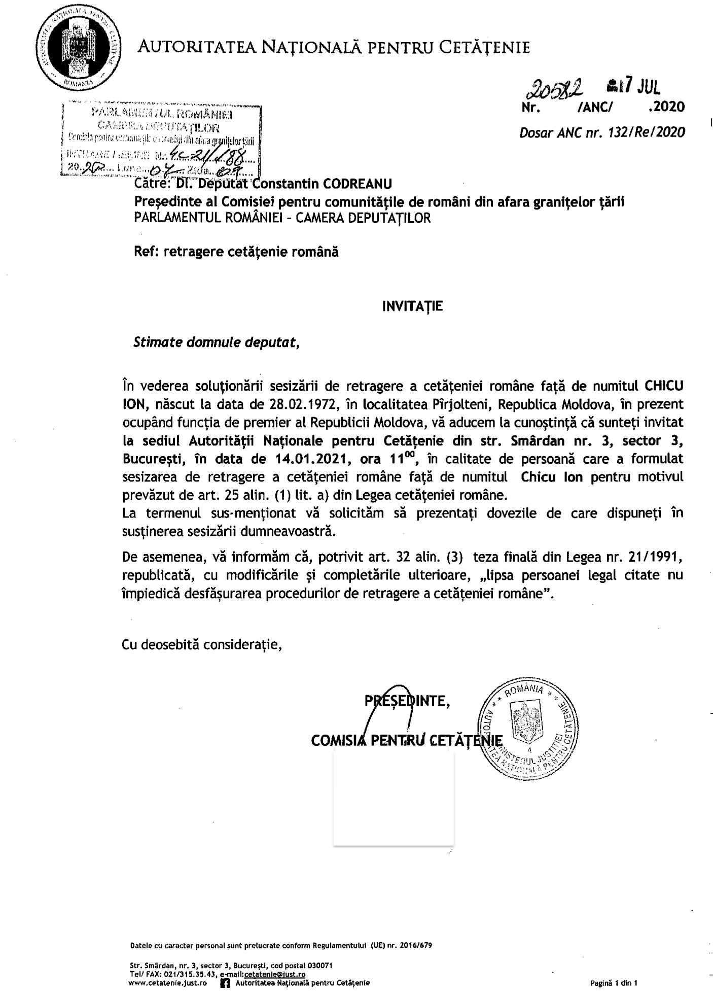 Constantin Codrenau Autoritatea Nationala pentru Cetatenie