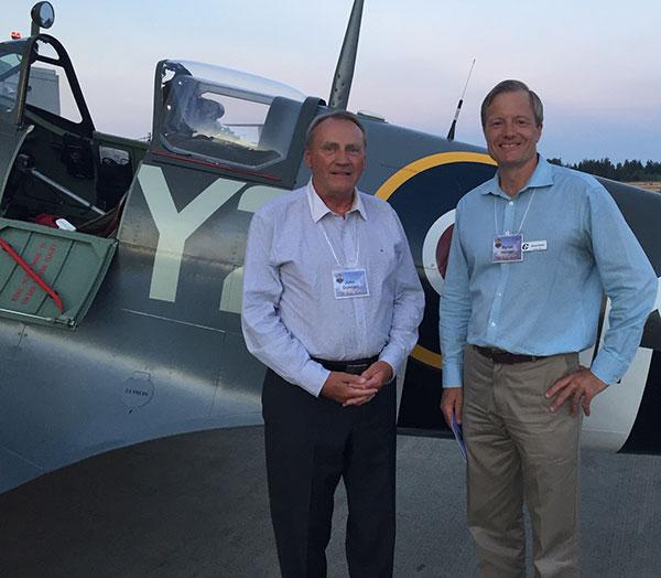 Byron & John-Duncan in front of a Spitfire