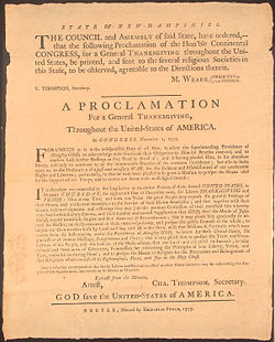 1777 Thanksgiving Proclamation