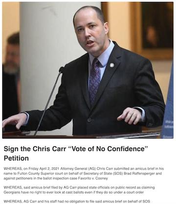 AG Chris Carr Vote of No Confidence