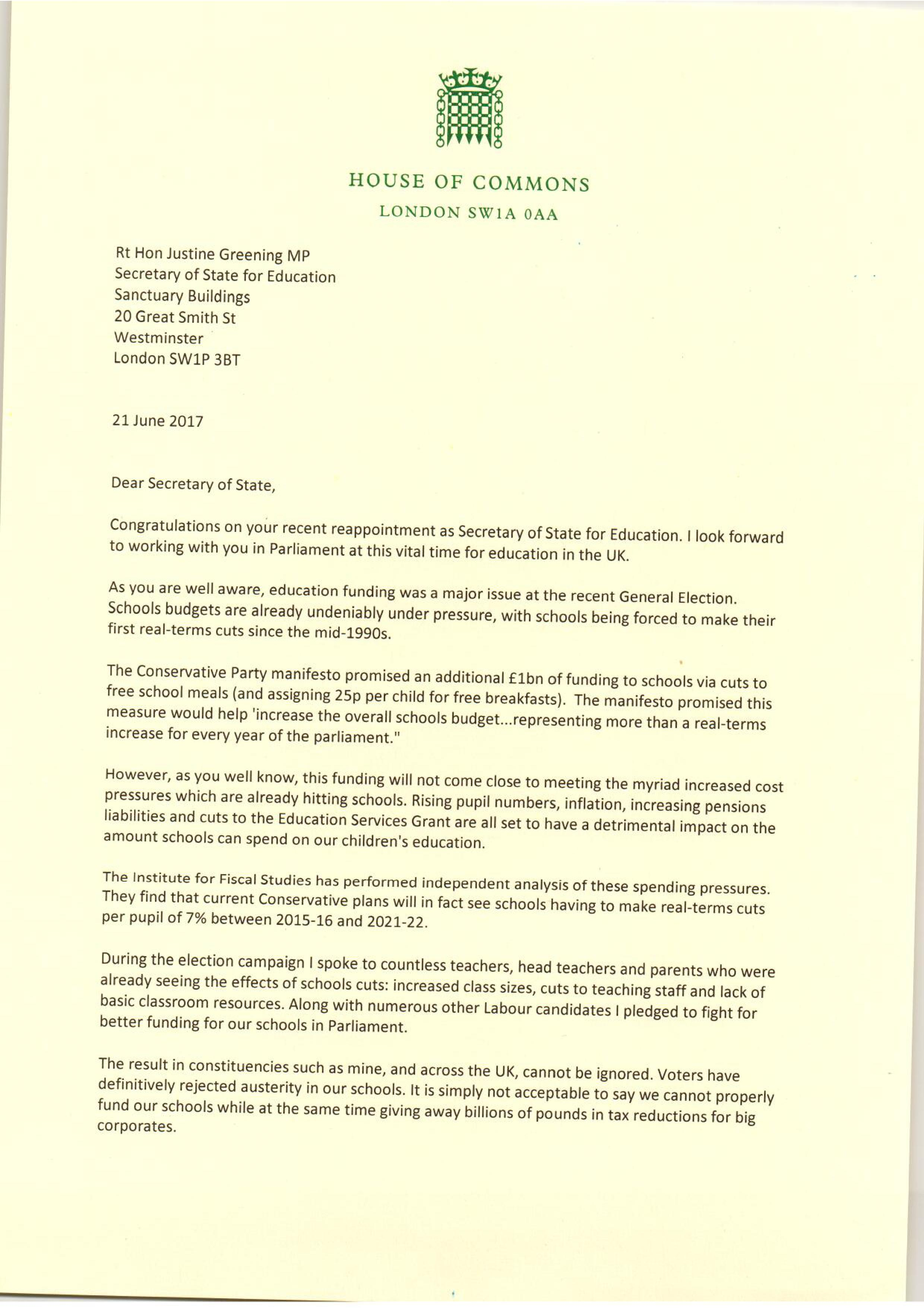 Schools cuts campaign update calling for an urgent meeting with the my letter to the secretary of state for education thecheapjerseys Images