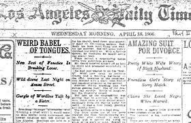 """Front page of LA Daily Times """"Weird Babel of Tongues"""""""