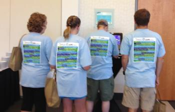 HEART & SOUL-Self-advocates at conference show off CUPE community social services t-shirts.