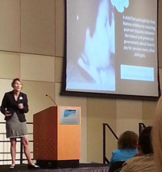 KEYNOTE ADDRESS-Dr. Cindy Blackstock addresses delegates.
