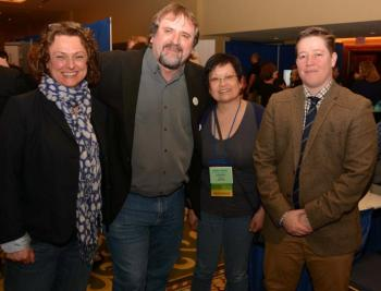BC Library Conference: CUPE BC president Mark Hancock with keynote speaker Ivan Coyote and CUPE BC Library Committee members Renee Milaney and Denise Parks.
