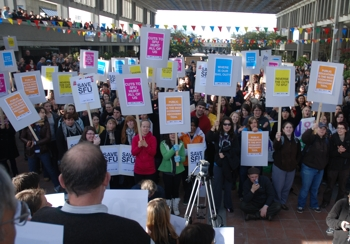 SFU community rallies to protest provincial funding cuts.