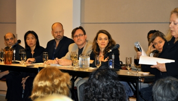 KEEPING IT LOCAL—From left, Stan Persky, Larissa Lai, Bill Tieleman, Daniel Gawthrop (moderator), Carellin Brooks, David Chariandy (hidden) and Caroline Adderson listen as CUPE 391 president Alex Youngberg describes the importance of in-house acquisition