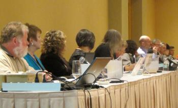 The members of the K-12 Provincial Bargaining Committee outline their progress to CUPE's K-12 presidents.