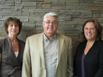 Three Chairs: Michelle Waite (Chair of the CUPE Colleges Bargaining Council), Terry Allen (Chair of the K-12 Presidents' Council) and Colleen Garbe (Chair of the Universities Coordinated Bargaining Committee) meet to share information about bargaining.