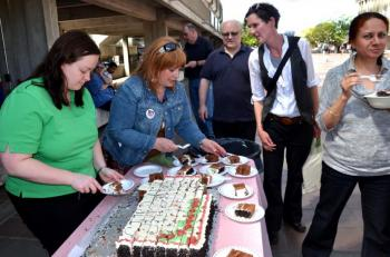 CUPE 3338 members mark three years without a contract with cake – including slices delivered to the SFU administration