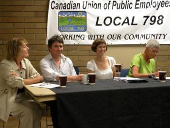 THE FACTS ARE IN: Panelists (L-R) Trish Cocksedge, Nicholas Simons, Robin Roff, and moderator Judy Watts made the case to keep wastewater treatment public in Powell River. Missing from photo is Karen Skadsheim.