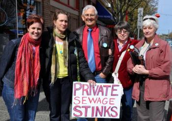 CUPE's Kim Manton with members of the Greater Victoria Water Watch Coalition