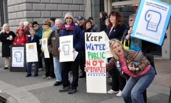 Public sewage treatment supporters rallying in Victoria before the committee vote