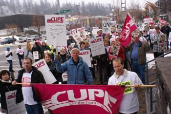 CUPE members out in full force Friday to oppose Bill 21