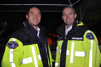 CUPE 873 members William Yeung and Gord Cavanagh volunteered to drive kids to the pumpkin house.
