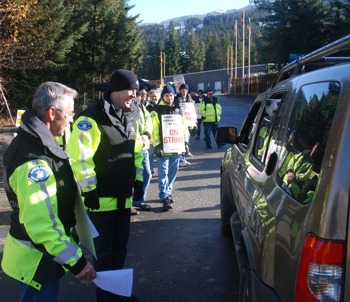 Paramedics on the picket line outside Olympic training