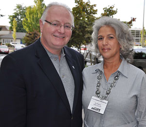 CUPE national president Paul Moist with CUPE 523 president Zoe Magnus who has sounded the alarm about education funding cuts in the Okanagan.