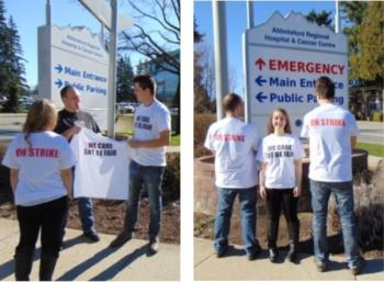 CUPE 873-03 members with We Care – SNT Be Fair shirts outside Abbotsford hospital.