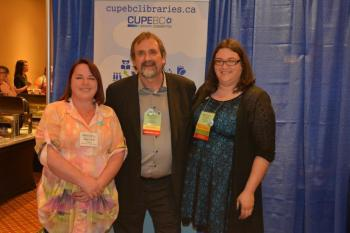 CUPE BC was once again a Gold Sponsor of the President's Reception at the BC Library Association 2015 conference. BCLA President Heather Buzzell pictured here with CUPE BC President Mark Hancock and General Vice-President Karen Ranalletta.