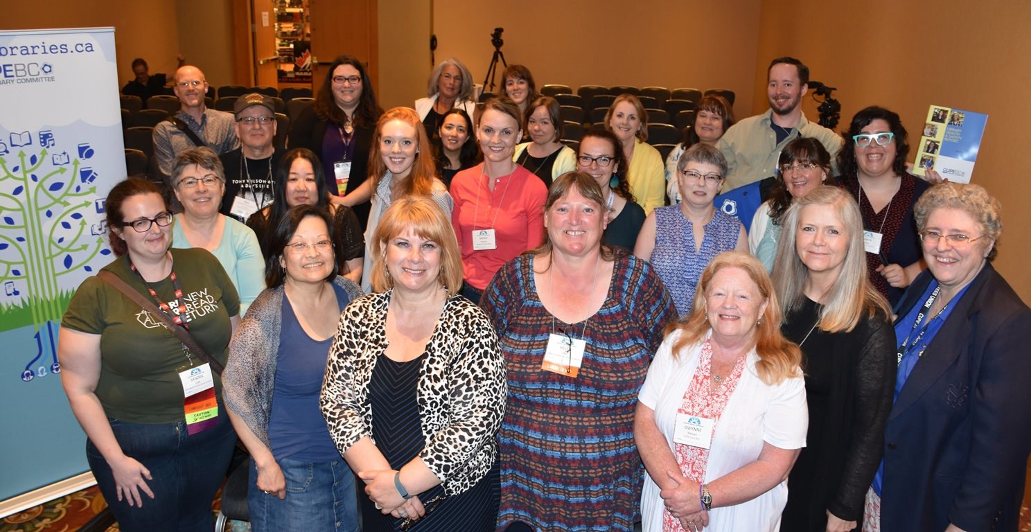 CUPE library workers had a high profile at the BCLA conference, both as presenters and participants. Pictured are members who attended CUPE's Health and Safety session.