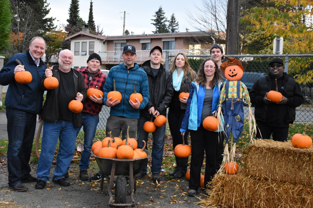 CUPE 23 members set up the last pumpkin patch of the season at South Slope and BC School for the Deaf.