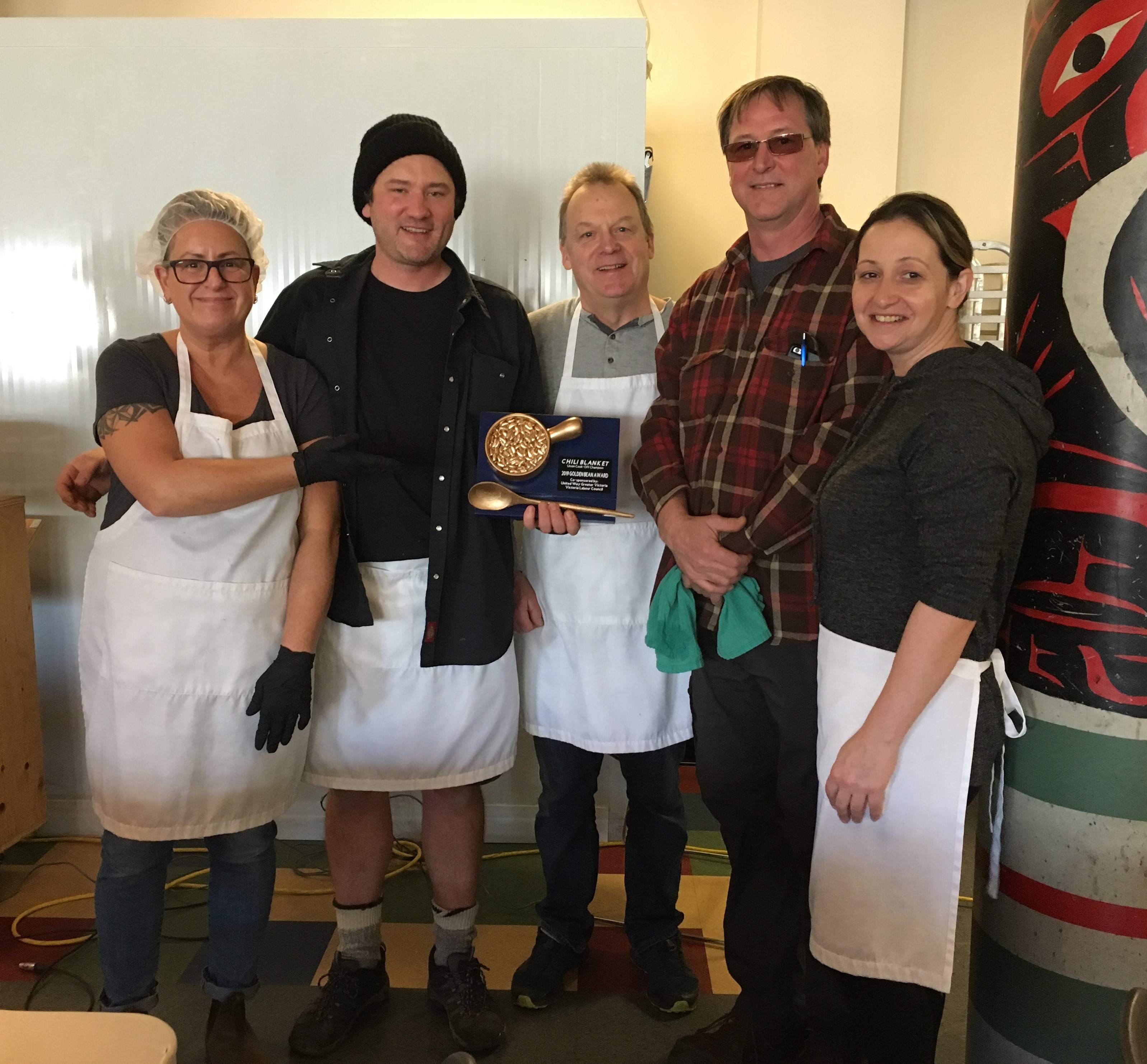 And the Golden Bean goes to…CUPE 917! Chili champions, pictured left to right are Jodi Mclean, Nick Vagvolgyi, Brad Lockwood, Claude Champagne and Rosalyn Silletta.