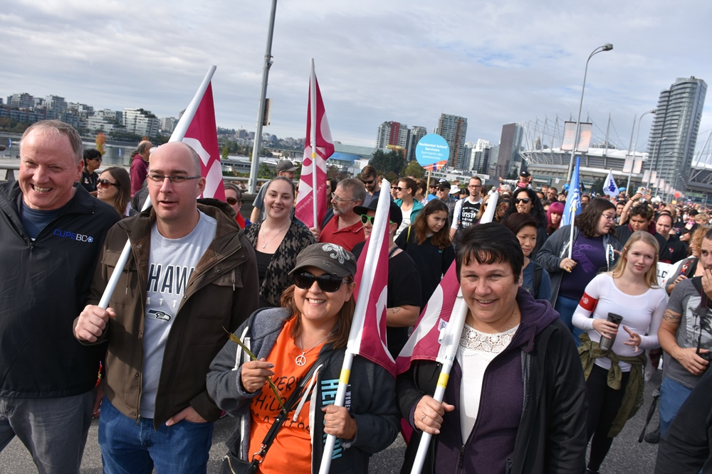 CUPE BC Diversity Vice President (Indigenous Workers) Debra Merrier marches with executive board members at 2017 Walk for Reconciliation.