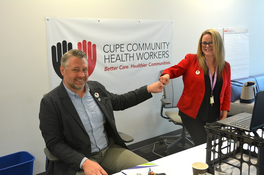 STANDING UP FOR PUBLIC HEALTH—CUPE's Health Care Presidents Council chair Andrew Ledger and Health Coordinator Tanya Paterson prepare for the online bargaining conference.