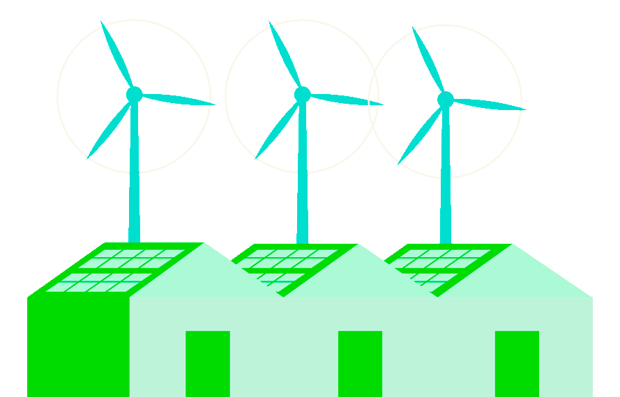 Illustration of buildings with solar panels and windmills in the background