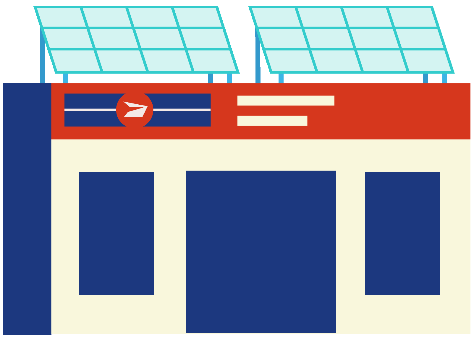 Post Office with Solar Panels
