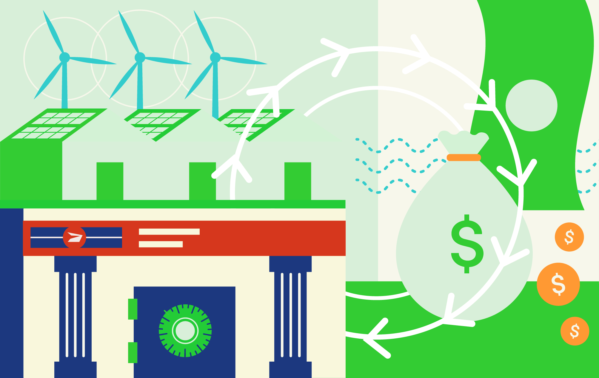 Illustration of a post office with banking services
