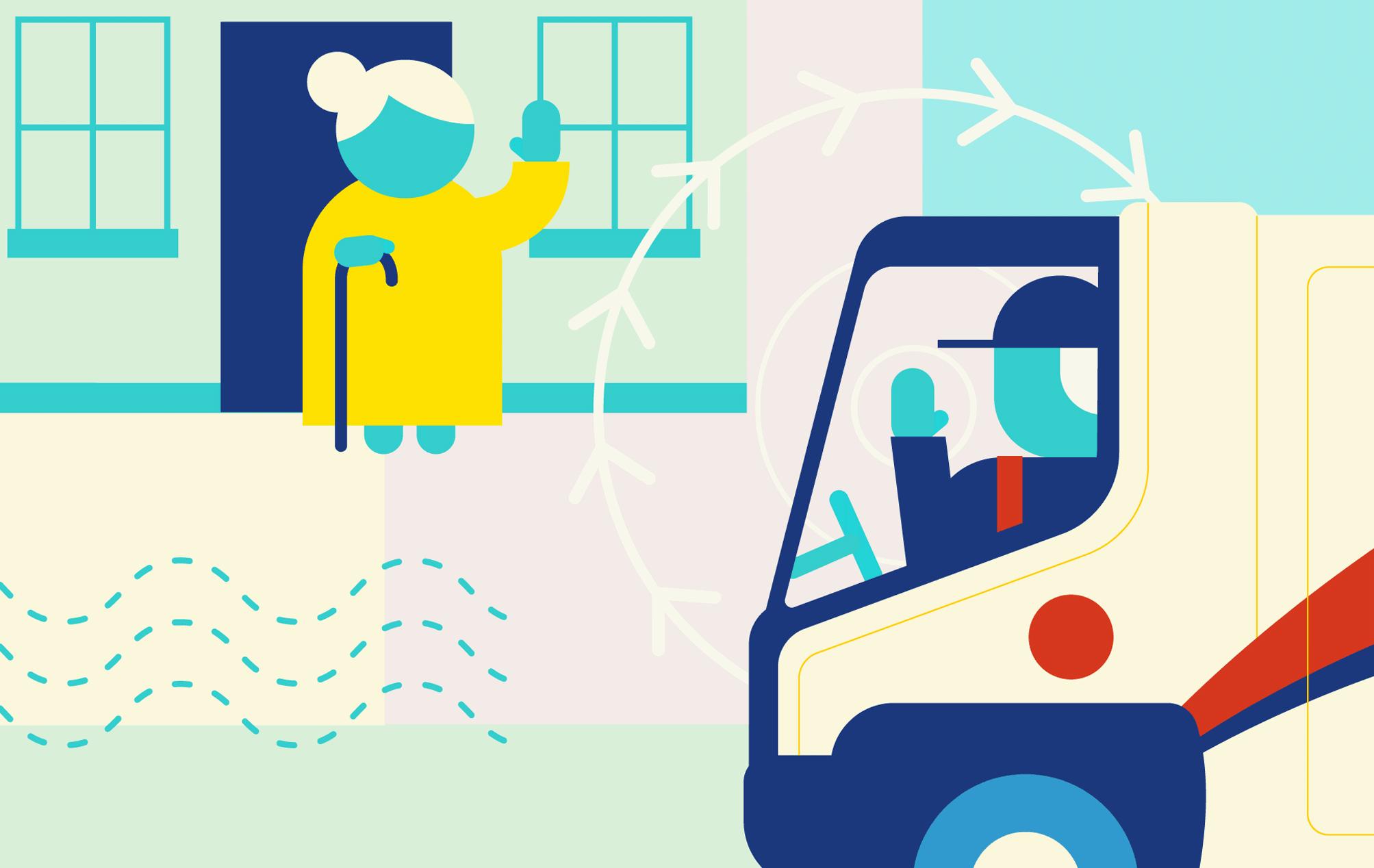 Composite illustration of elder check-in service