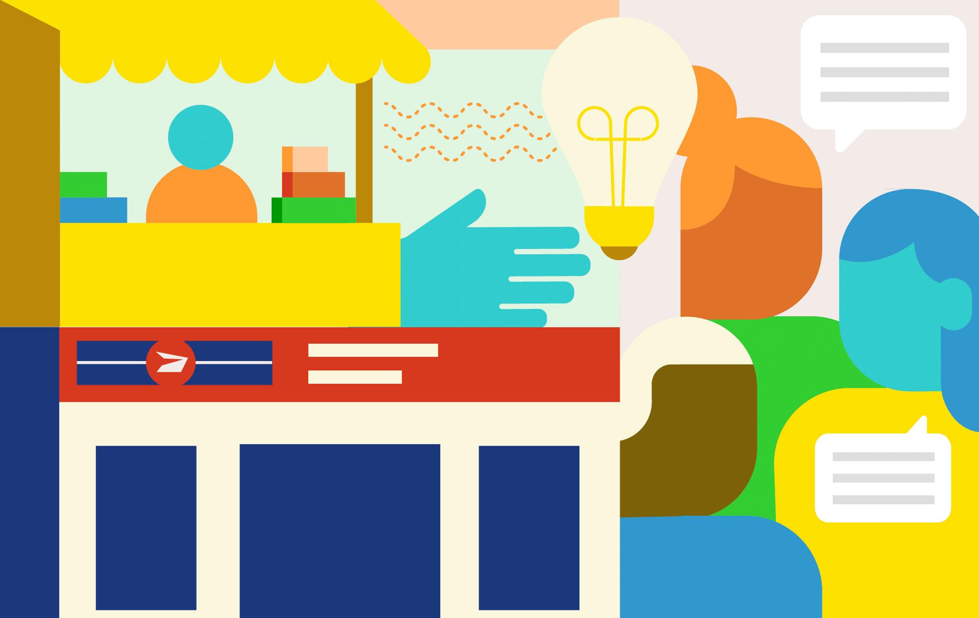 Composite illustration of a community hub