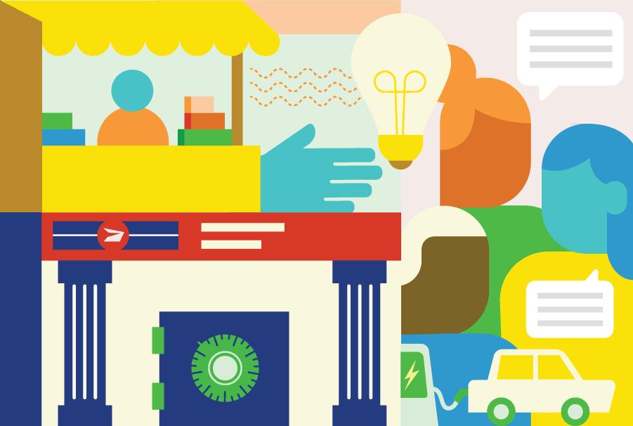 Composite illustraion of Delivering Community Power - Postal Bank and Community Hub