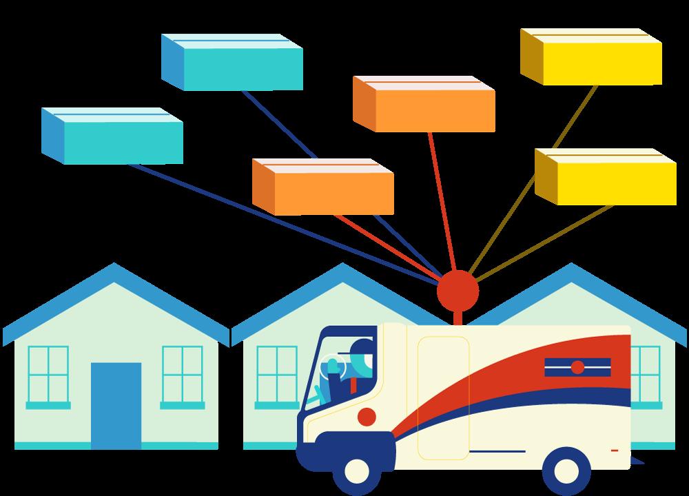 Illustration d'un camion du service postal effectuant le dernier kilomètre de livraison