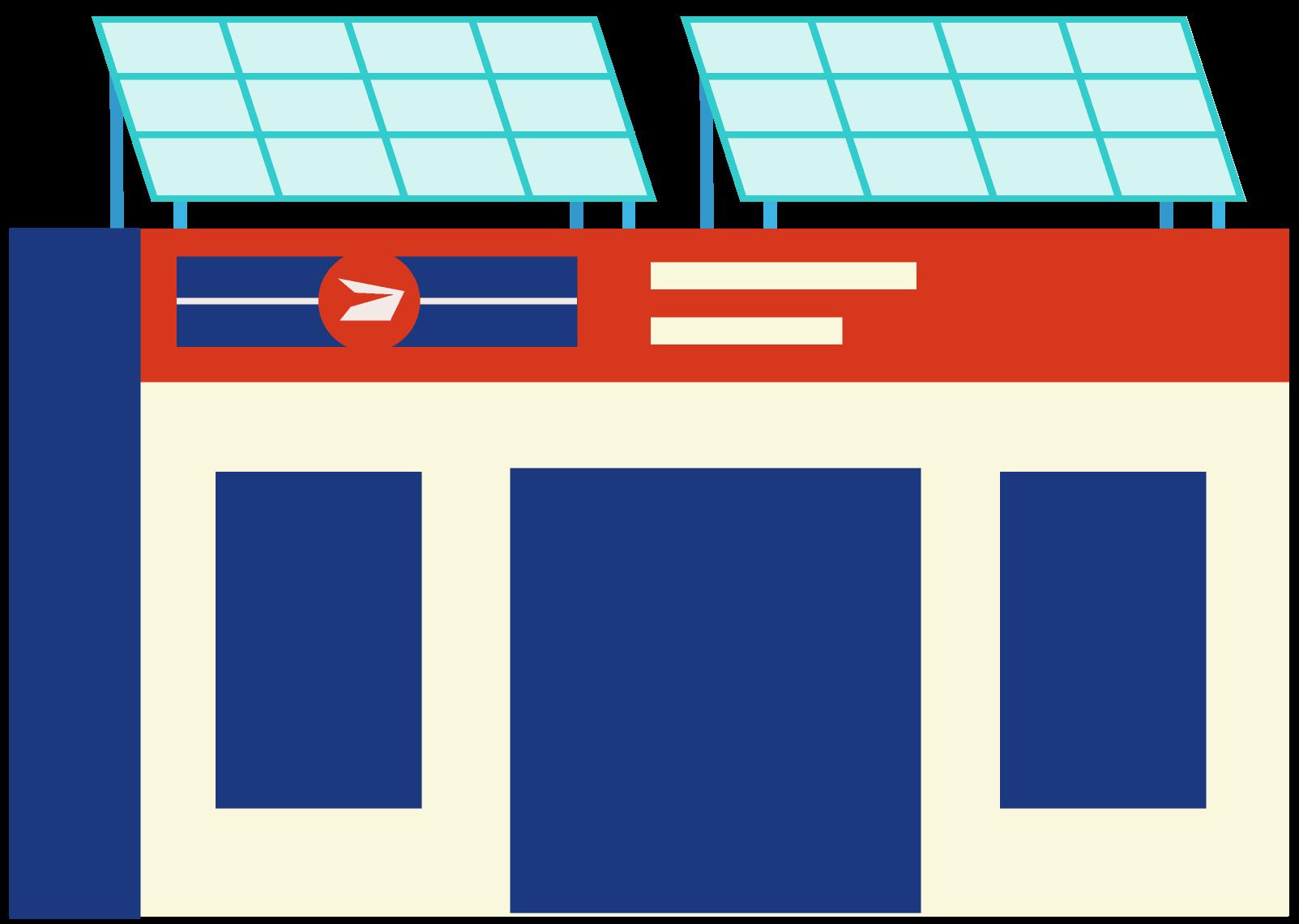 Illustration d'un bureau de poste équipé de panneaux solaires