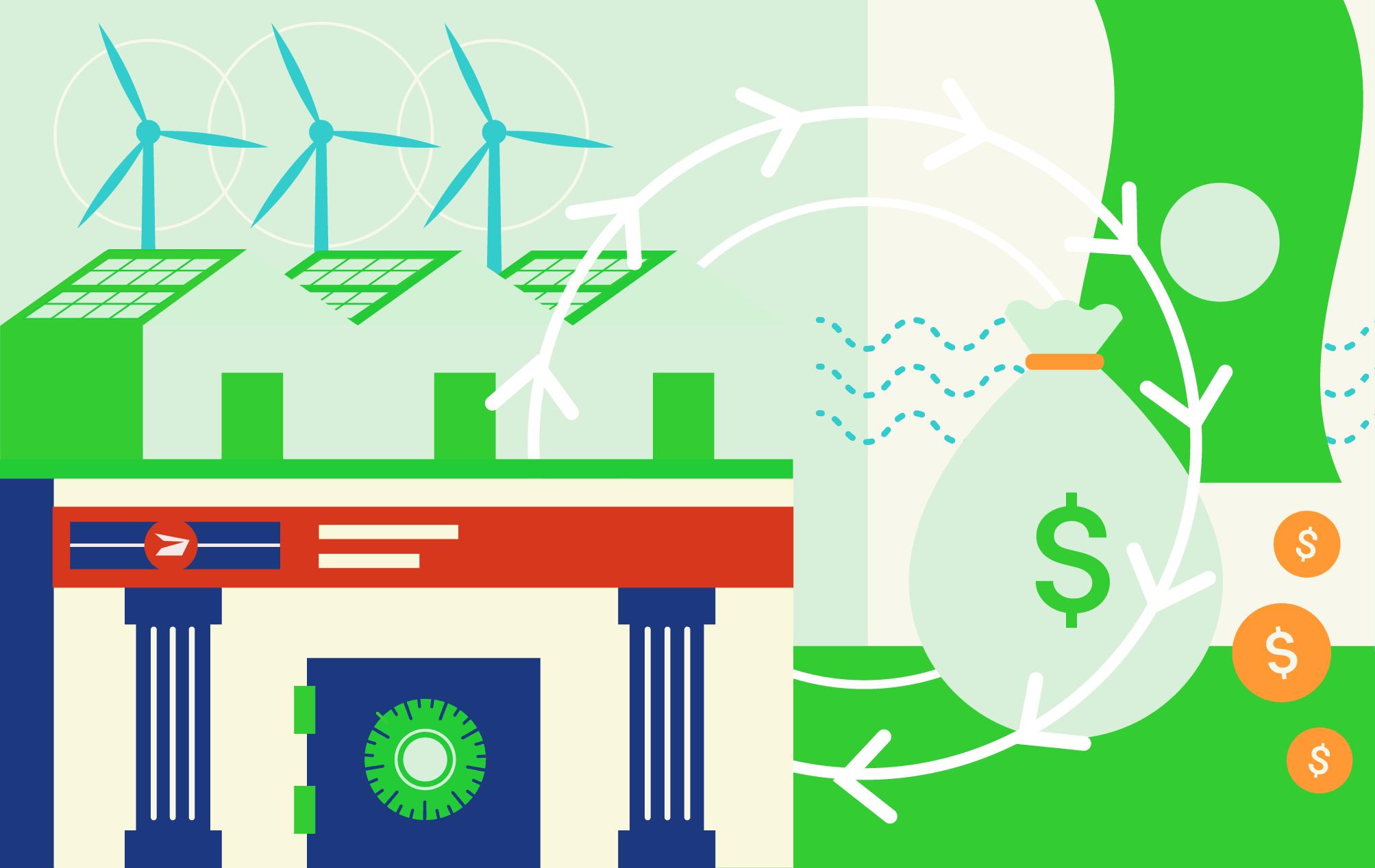 Illustration du concept de bureau de poste doté de services bancaires