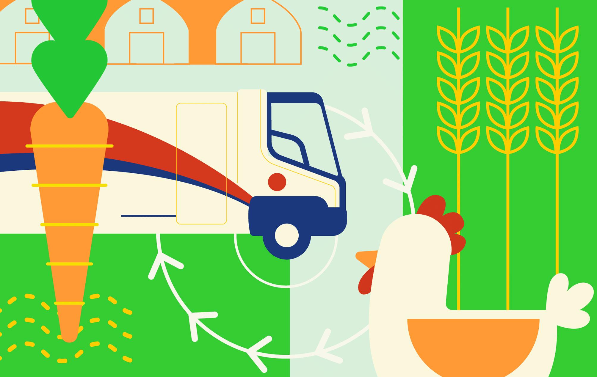 Illustration du concept de réseau de distribution alimentaire local