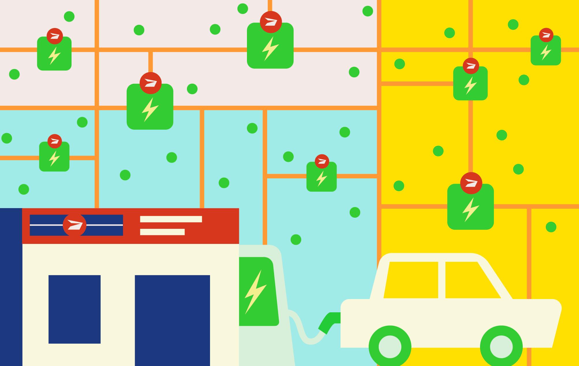 Illustration du concept de bornes de recharge pour véhicules électriques