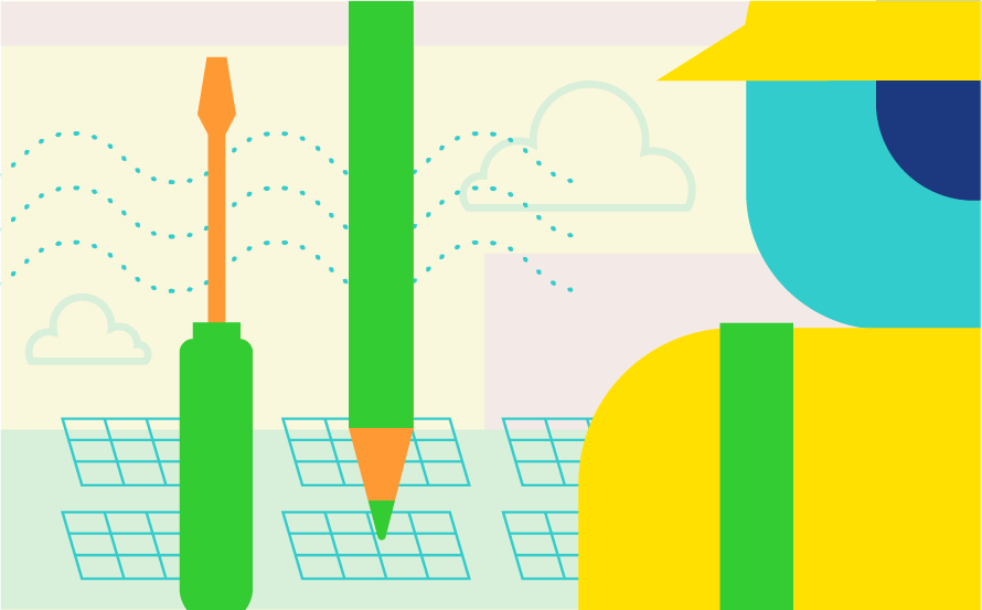 Composite illustration for Green Jobs for the Future