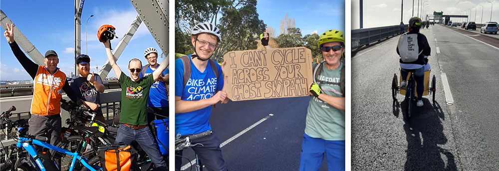 Collage of pics from the liberate the lane event crossing the  Auckland harbour bridge.
