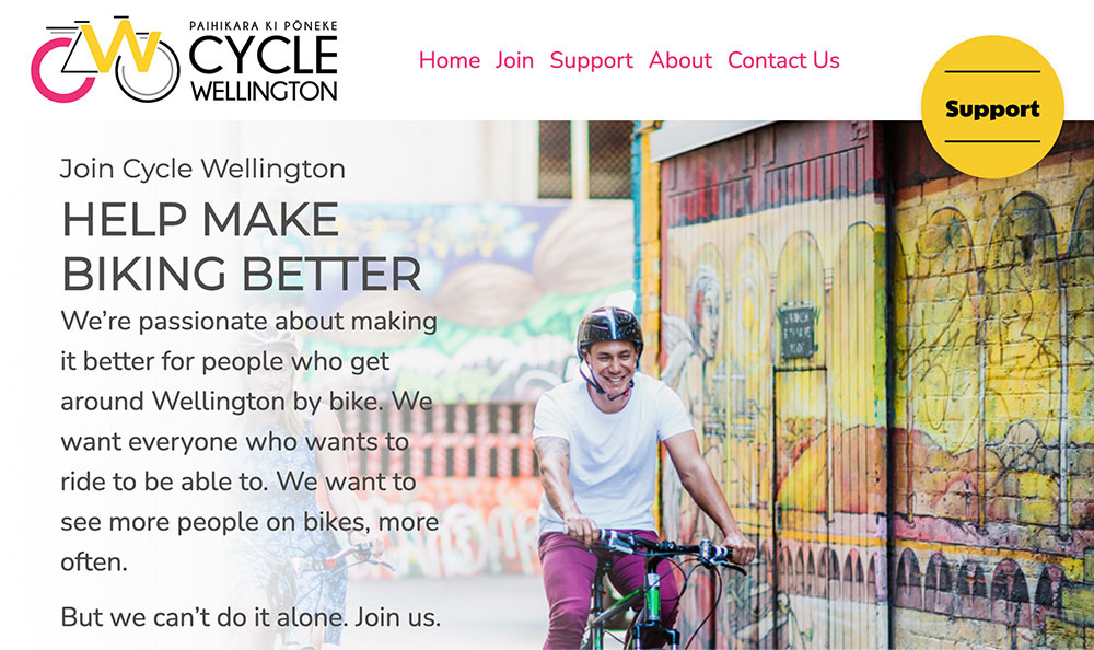 Screengrab of the new Cycle Wellington website home page.