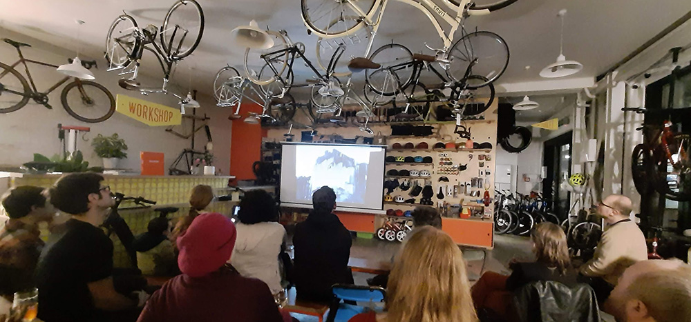 Watching the film at  Bicycle Junction
