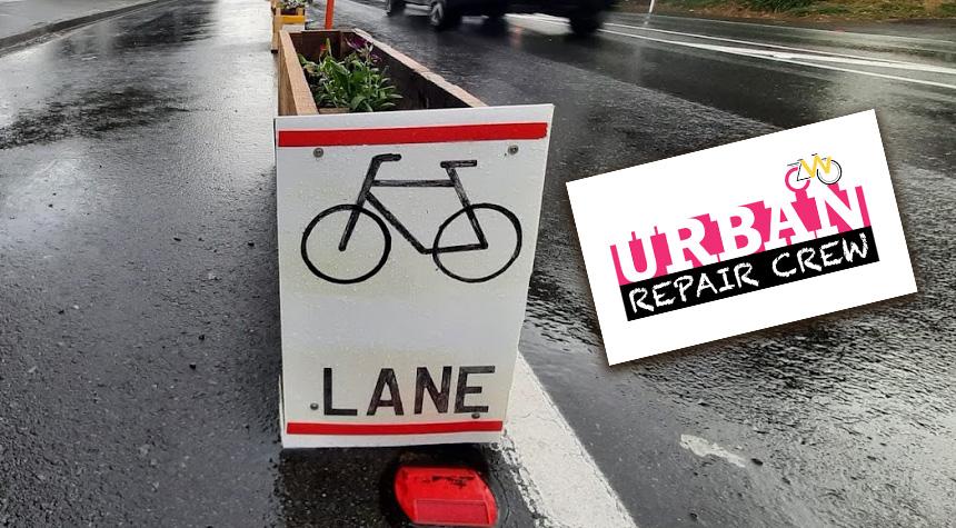 Urban Repair Crew popup cycleway planter box.