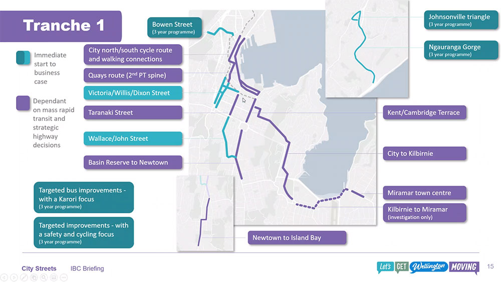 Slide graphic showing where early project will take place for the City Streets programme of work.