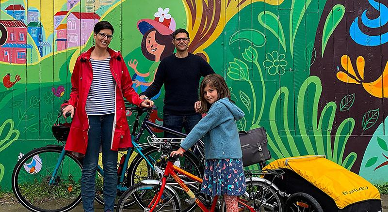 Family with their bikes.