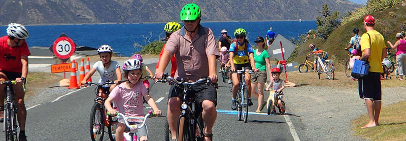 People enjoying one of the Miramar Peninsula Cyclovia events from several years ago.