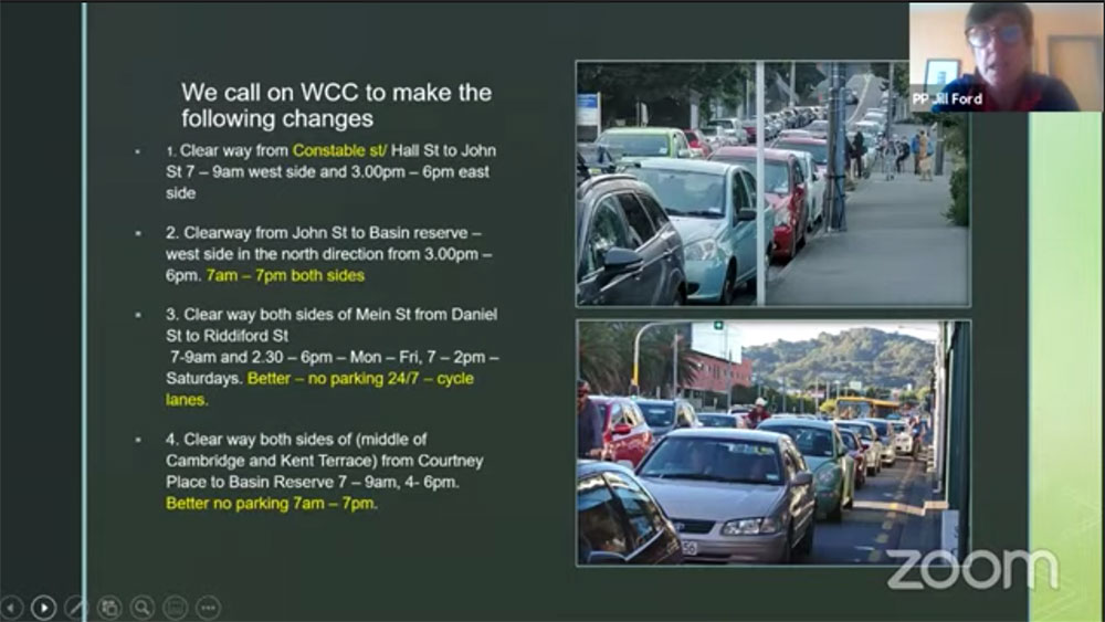 Slide from Jill's presentation to Wellington City Council on clearways.